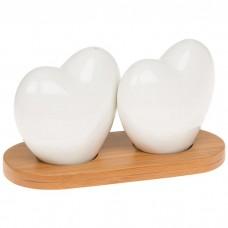 Heart Ceramic Salt Cellar Cruet Pepper Pots Bamboo White Gift