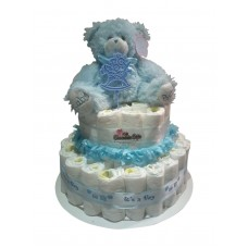 2 Tier Baby Boy Nappy Cake Arrangement