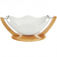 White Bamboo Swing Salad Bowl Small